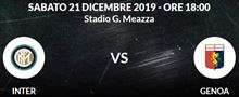 2 biglietti Inter Genoa Sab 21 Dic 18:00 Primo Arancio