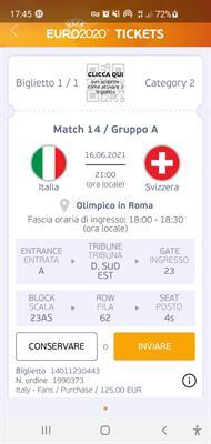 Europei 2020 Italia Svizzera Biglietto a prezzo di costo