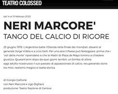 Neri MarcorÉ 14/02/20 Teatro Colosseo Ore 21